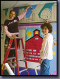 Linda Shears: www.lindashears.com and Diana Jellinek and James Homer Brown painted this Children's Book Mural for Bemis Elementary School in Troy, Michigan